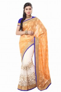 MGC  Light Orange And Creem Color Gorgatte Saree With Blouse Sp170