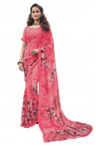 MGC Georgette Pink Colour saree with blouse Piece  SP206