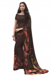 MGC Georgette Brown Colour saree with blouse Piece  SP210
