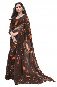 MGC Georgette Brown Colour saree with blouse Piece  SP226
