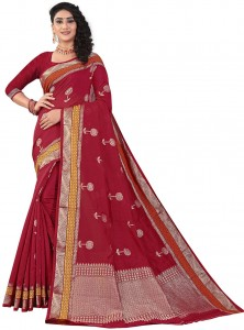 MGC Sof Linen Maroon Colour saree with blouse Piece  SP236