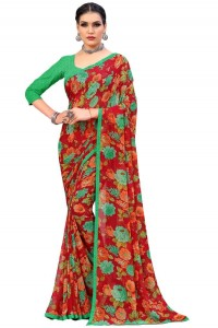 MGC Georgette Red Colour saree with blouse Piece  SP243