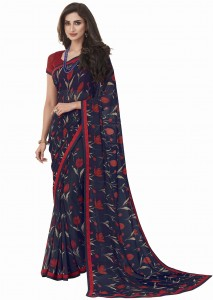 MGC Georgette Navy Blue Colour saree with blouse piece SP272