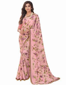 MGC Georgette Pink Colour saree with blouse piece SP279