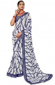 MGC Georgette White and Blue Colour saree with blouse piece SP304
